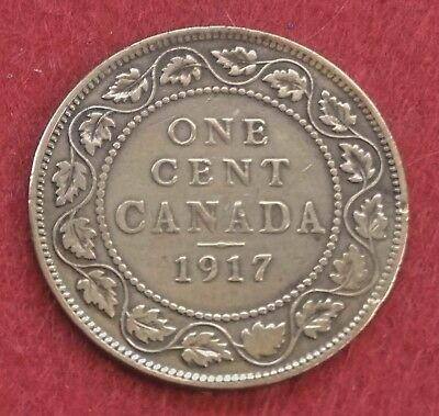 Antique Collector 1917 Large One Cent Canada Penny George V Coin