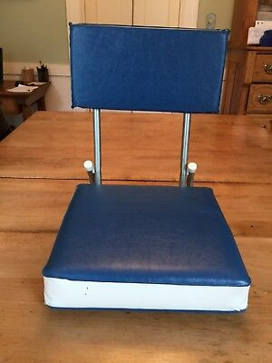 Vintage Folding Chair For Small Boats Stadiums Blue & White Steel Construction