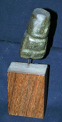 Authentic Primitive Antiquity Pre-Columbian Carved Green Stone Mayan Figure