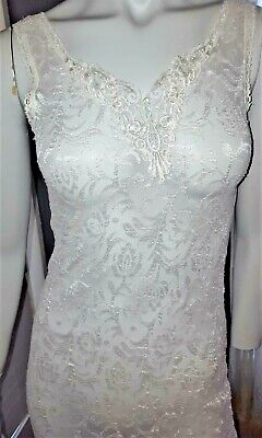 Frederick's of Hollywood White Lace Long Sexy Negligee Nightgown Size Small