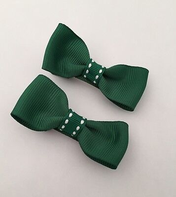 2 Packs Of Forest Green hair bow Clips/hair Accesories/School Uniform