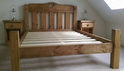 Rustic Chunky Pine Bed Frame with Low Toe & Elongated Posts - Heart Moon Star