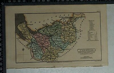 1808 Antique Original Hand Coloured Capper Map of Cheshire
