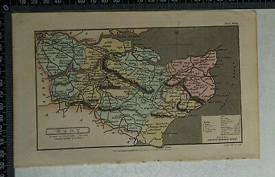 1808 Antique Original Hand Coloured Capper Map of Kent