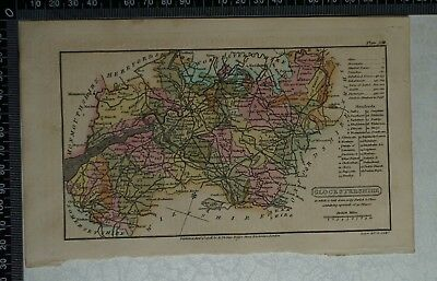 1808 Antique Original Hand Coloured Capper Map of Glocestershire/Gloucestershire
