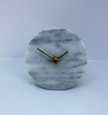 Marble Mantle Clock 'Heart Of House' Marble White With Brass Hands Brand New