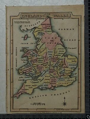 1810 Antique Map of England and Wales, engraved by J. Wallis