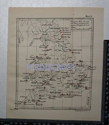 1895 Map - Diagram Map shewing the Port Sanitary Districts of England and Wales