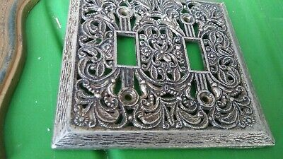 Antique Filigree Double Light Switch Cover Silvery Pre Hollywood Regency