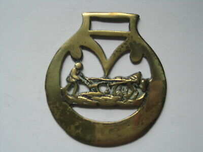 vintage brass medallion horse saddle bridle ornament harness horse farm plow O