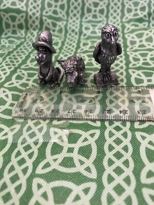 Junk Drawer Lot Of 3x Mini Pewter Cartoonish Animal Figurines FREE SHIPPING