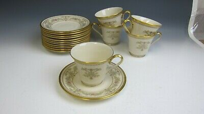 Lot of 5 Lenox China CASTLE GARDEN Cup and Saucer Sets & 7 Extra Saucers EX
