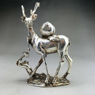 Exquisite CHINESE Old TIBETAN SILVER STATUE CARVED DEER STATUE YT