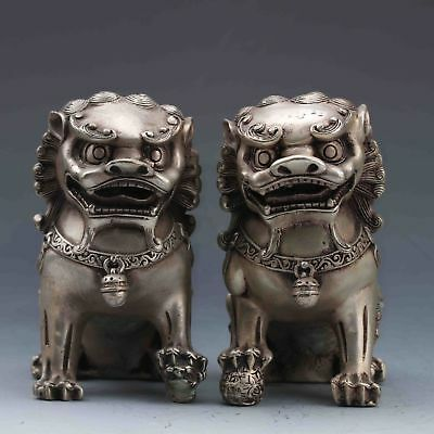 EXQUISITE CHINESE Tibet SILVER COPPER HANDWORK CARVED A PAIR OF LIONS STATUE