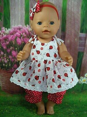 "Dolls clothes for17"" Baby Born~Cabbage Patch Doll~RED LADYBUG STRAP DRESS SET"