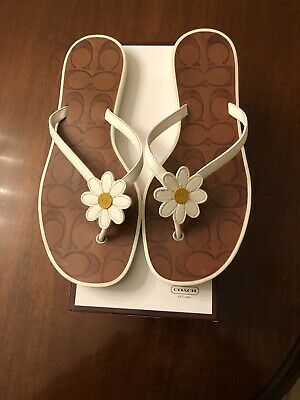 976c4f8f1 COACH WOMENS FLIP Flop Lyra Thong Sandals Black Size 10 Leather ...