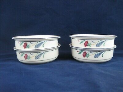 Lenox Chinastone - Set of (4) Poppies On Blue Cereal/Soup Bowls - Excellent Cond
