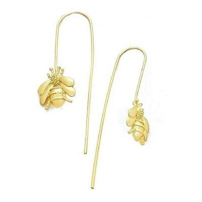 "Gold Finish Honey Bumble Bee Threader Thread Drop Earrings 1.5"" L 38.1MM"