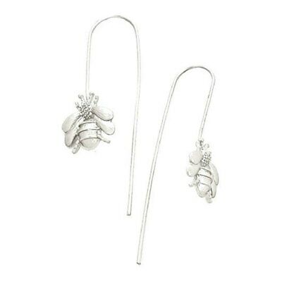 "Silver Finish Honey Bumble Bee Threader Thread Drop Earrings 1.5"" L 38.1MM"