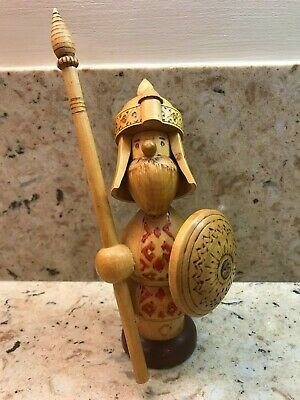 Vintage Ussr Russian Carved Wood Wooden Viking Fig. With Partial Label