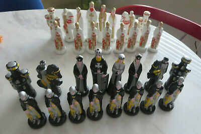 Painted  32 Piece Ceramic Bisque Medieval Alberta Chess Set