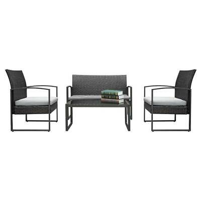 2X Arm Chairs 1pc Love Seat  Tempered Glass Coffee Table Rattan Sofa Set Black