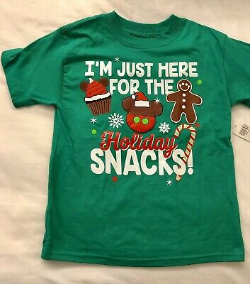 New Disney I M Just Here For The Holiday Snacks Kids T Shirt Small