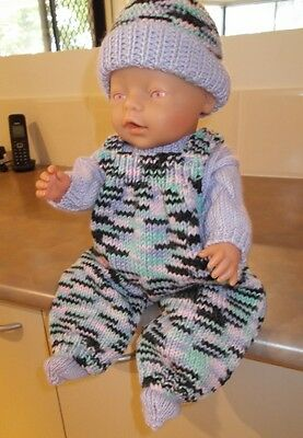 """Hand Knitted Dolls Clothes - New- Baby Born Or Similar 16"""" Doll"""