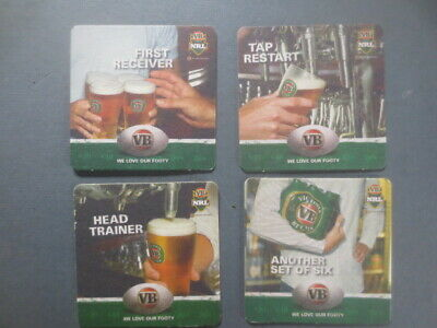 """complete set of 4 VICTORIA BITTER/ NRL""""we love our footy""""  BEER  COASTERS"""