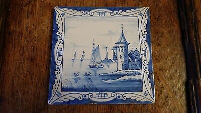 Antique Delft Tile - Ships Boats Tower Seascape - Good Condition