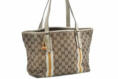 0cf143e9a Authentic GUCCI Sherry Line Shoulder Tote Bag Canvas Leather Brown 74583