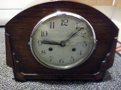 Anvil Hammer Chime Oak Art Deco Mantle Clock Circa 1930s With Original Key