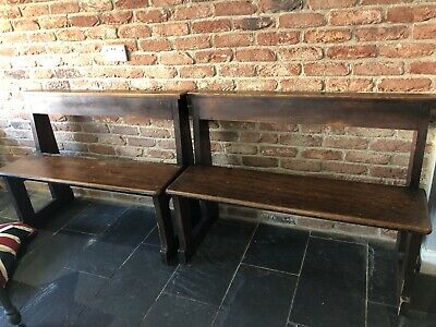 Pair Of Church Pews. Original Pews From St Benets Church