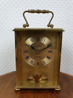 Vintage H. Samuel Brass Clock Heavy Carriage Quartz/ Bell West Germany