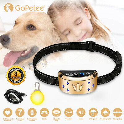 Rechargeable Anti Bark Collar Stop Dog Barking w/Sound & Vibration For All Dogs