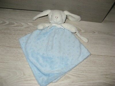 doudou lapin blanc bleu pois relief attache tétine king bear