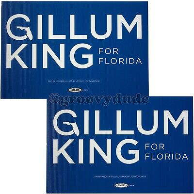 Andrew Gillum King For Florida Governor 2018 Political Campaign Blue Yard Sign