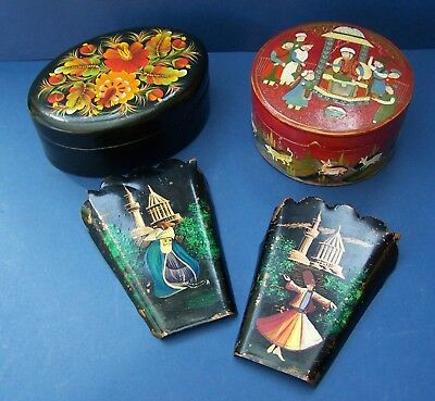Vintage Russian Folk Art, Copper Plaques & Lacquer Work Boxes, Hand Painted