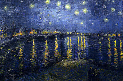 "Starry Night Over The Rhone by Van Gogh, Oil Painting Reproduction, 36"" x 24"""