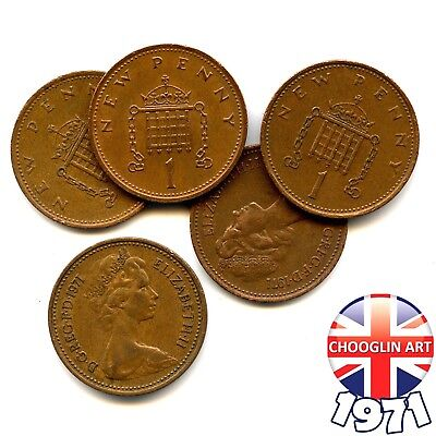 (x5) 1971 British Bronze ELIZABETH II ONE NEW PENNY coins