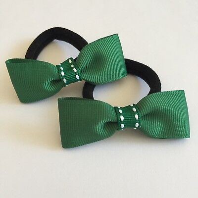 2 Packs Of Forest Green Hair bow bobbles/hair Accesories/School Uniform