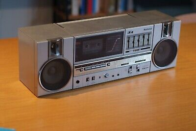 National Silver Boombox GhettoBlaster, UV, Made in Japan, Retro, Vintage, Works