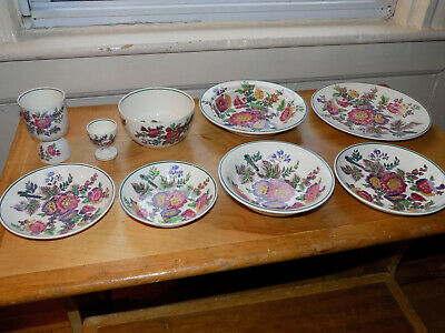 9 pc Antique Wedgwood Etruria Hollyhock:Plates, Bowls, Cups - Sample Setting?