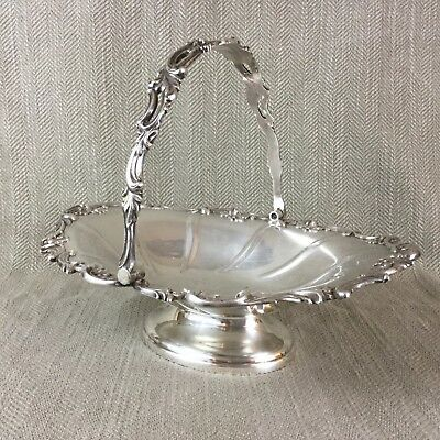 Antique Silver plate Basket Victorian Swing Handle Bread Bowl Ornate Walker Hall