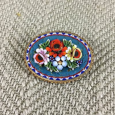 Antique Italian Micro Mosaic Brooch Pin Inlaid Marble Pietra Dura