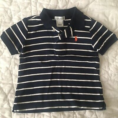 Ralph Lauren Toddler Boy Navy Blue White Striped Collar Shirt Size 18 Months