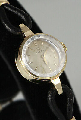 9k SOLID GOLD Omega Ladies Watch, 9k SOLID GOLD clasp, Cut Sapphire Crystal, 043