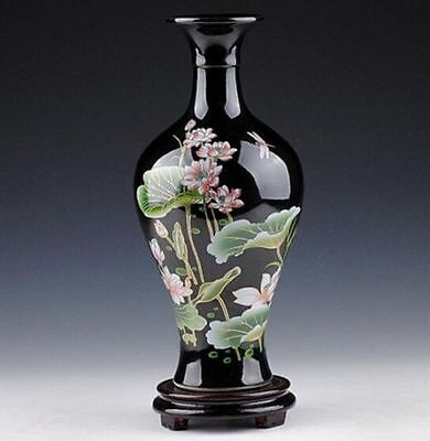 Oriental Chinese Hand-Painted Black Lotus Flowers Vase