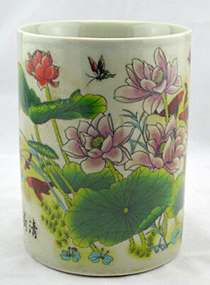 JR Chinese porcelain brush pot pencil vase painted lotus flowers with mark