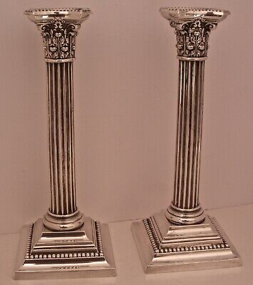 "Large Pair Of 10 1/4"" Gorham Sterling Silver 3207 Corinthian Column Candlesticks"